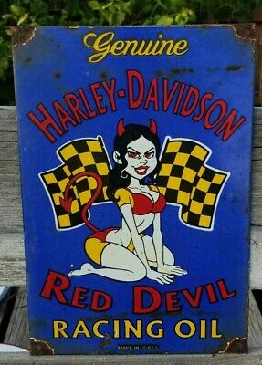 RARE OLD VINTAGE 1953 HARLEY DAVIDSON MOTORCYCLE RACING OIL PORCELAIN SIGN GAS