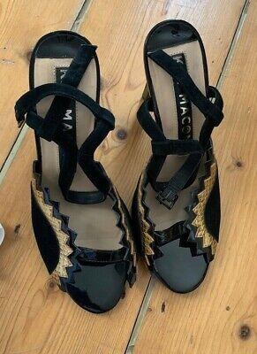 Kat Maconie High Heels in Black Suede & Patent Eu40/ 7 Vintage Look RRP+£150