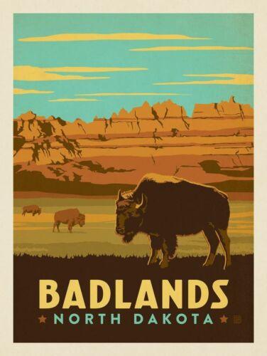 Badlands National Park Travel Advertisement Art Poster Print. South Dakota