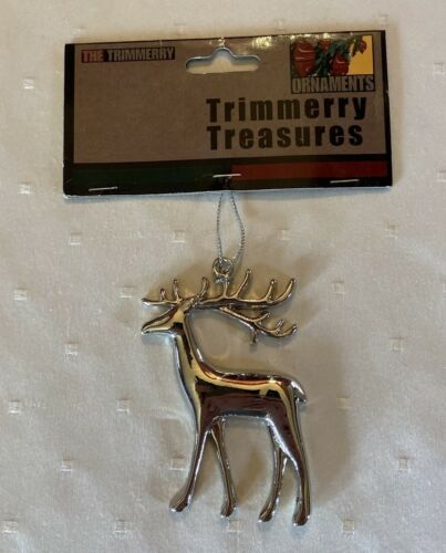 Trimmerry Treasures color silver Reindeer Christmas Tree ornament