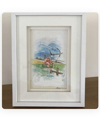 Postage Stamp Art, British seaside Beach picture, framed Postcard Humour art