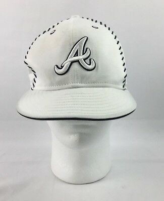 brand new cea93 9329a New Era Atlanta Braves White Fitted Hat Mens Size 7 1 4 MLB Baseball Cap  NICE!