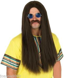 MENS 60s 70s LONG STRAIGHT HIPPIE HIPPY COSTUME WIG AND BLUE OZZY LENNON GLASSES