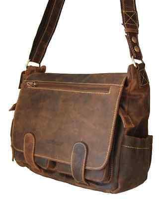 GreenBurry Schultertasche Rind-Leder Umhänge-Tasche Messenger Vintage braun 1763