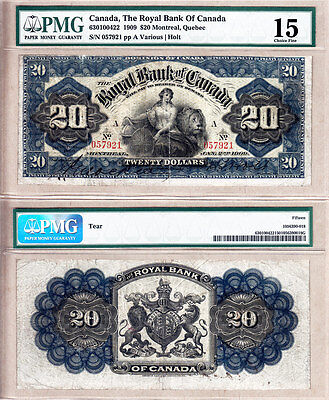 Very Rare 1909  20 Royal Bank Of Canada 630 10 04 22  Pmg Certified Ch Fine 15