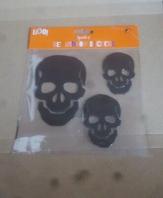 Halloween Gel Window Stickers Clings skulls Designs free uk p&p  - Halloween Window Clings Uk
