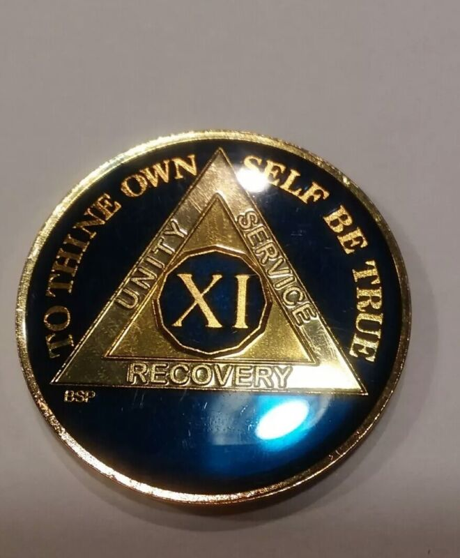 11 Year AA Sobriety Coin Medallion- Rich Midnight Blue Enamel Eleventh XI