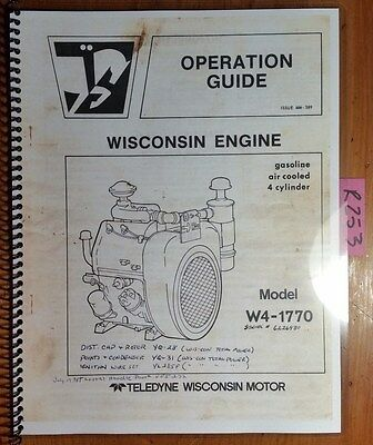 Wisconsin W4-1770 Gasoline 4 Cylinder Air Cooled Engine Owner Operators Manual