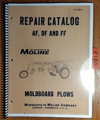 Minneapolis-moline Af Df Ff Moldboard Plow Repair Parts Catalog Manual R-1161a