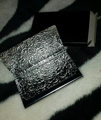 NEW METAL BUSINESS CARD HOLDER/ ID CASE DAMASK EMBOSSED SILVER