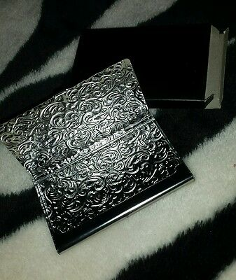New Metal Business Card Holder Id Case Damask Embossed Silver