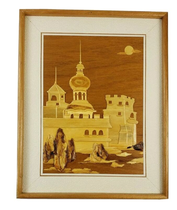Vintage Handmade Layered Wood Applique Picture Wall Art Castle Scene Woodenware