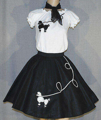 3 PC Black 50's Poodle Skirt outfit Girl Sizes 7,8,9 Waist 20