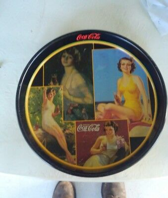 Coca Cola Coke Round Tin Serving Tray Vintage Swim suits and evening ware deep