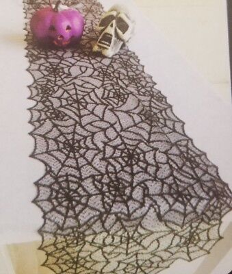 NIP Spiderweb BLACK Lace Cover Table Runner Only Halloween Decoration 13