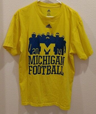 ADDIDAS Size Large NCAA Michigan Football T-shirt 2014 Bo Schembechler Quote
