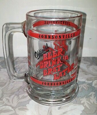 """Johnsonville Official """"Beer Drink n Brat Eater"""" Glass Stein"""