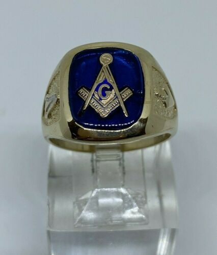 10KT YELLOW GOLD ESTATE BLUE SPINEL MASONIC RING SIZE 11