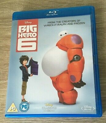 DISNEY BIG HERO 6 (Blu-ray, 2015) 53 IN WHITE ON SPINE KIDS FAMILY FUN FILM