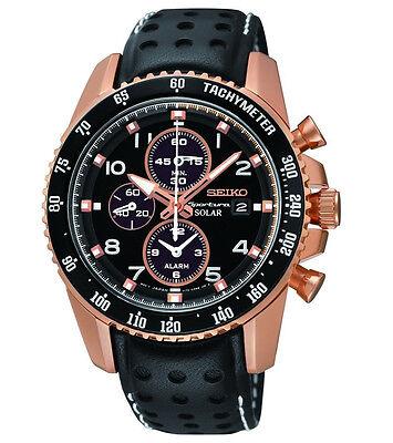 Seiko Sportura Mens Alarm Chronograph Rose Gold Tone Leather Quartz Watch SSC274