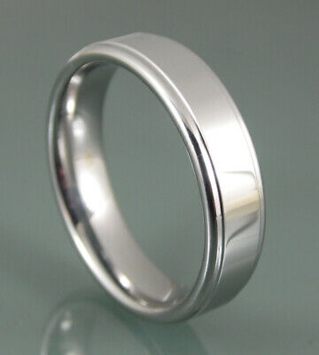 Grooved Polished Edge (Tungsten Carbide 6 mm Polished Silver Mens Womens Grooved Edge Design Band)