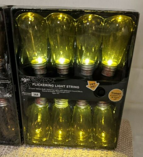 16 Flickering HALLOWEEN Edison Bulb String Lights Sound Gloom Electric Shock