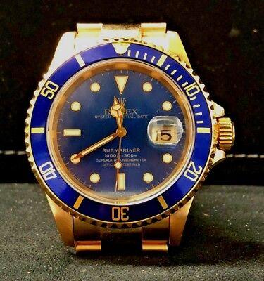 Rolex Submariner 18k Yellow Gold Blue Dial/Bezel Mens Dive Watch 16618 MINT
