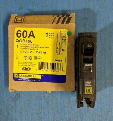 Qob160 - Square D 60a Amp 1p Pole 120v Bolt On Qob Circuit Breaker -nib