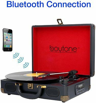 Boytone BT-101B Bluetooth Turntable Record Player Portable Black Suitcase NEW