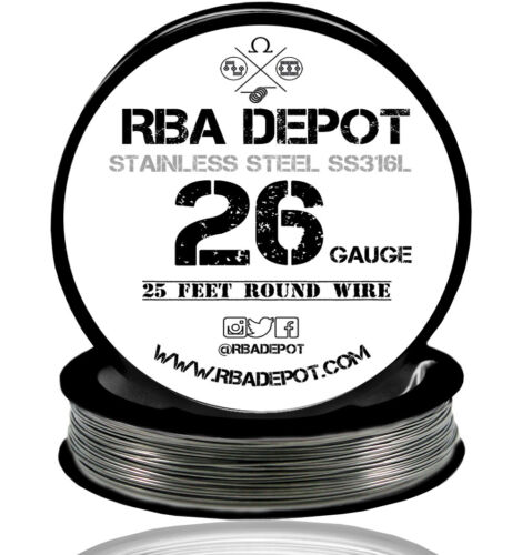 RBA Depot Stainless Steel SS 316L Competition Resistance Wire 26 Gauge AWG 25ft
