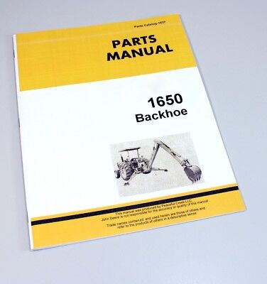 Parts Manual For John Deere 1650 Backhoe Catalog Assembly Exploded Views