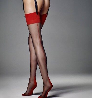 Black Matte Stockings with red lace top and red seam