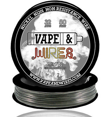 Vape Wires Pure Nickel 201 Ni201 Non Resistance 32 Gauge Awg 50ft Black Spool