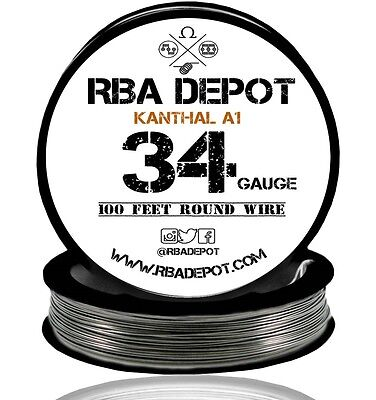 Rba Depot Kanthal A1 Wire 34 Gauge Awg 100ft Roll 0.16mm 21.1 Ohmsft Resistance