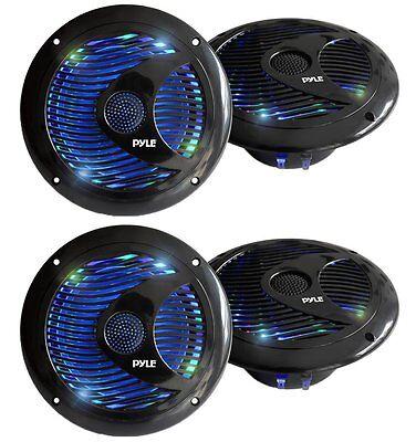 Pyle Audio 150W 6.5-Inch Waterproof Marine Speakers w/ LED Lights (4 Speakers)