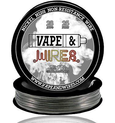 Vape Wires Pure Nickel 201 Ni201 Non Resistance 28 Gauge Awg 25ft Black Spool