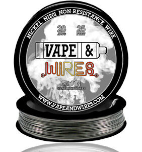 Vape & Wires Pure Nickel 201 Ni201 NON RESISTANCE 28 Gauge AWG 25ft Black Spool