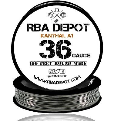 Rba Depot Kanthal A1 Wire 36 Gauge Awg 100ft Roll .127mm 33.4 Ohmsft Resistance