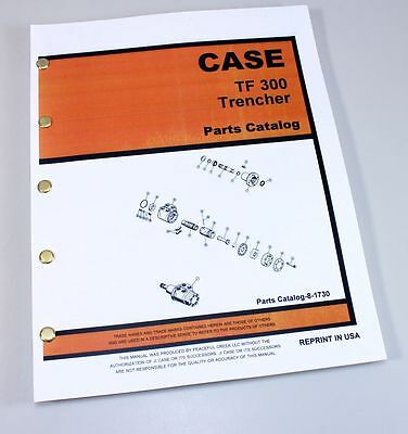 J I Case Tf 300 Track Trencher Plow Parts Manual Catalog Exploded Views Assembly