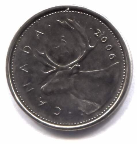 2006 P Canadian Caribou 25 Cent Coin - Canada Quarter - Queen Elizabeth II