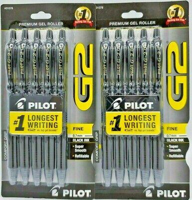 2 Packages Pilot G2 Premium Gel Ink Roller Ball Pens Fine Point Black Ink 5 Ea