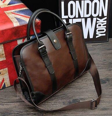 Men's PU Leather Briefcase Business Cases Shoulder Messenger Laptop Bag -