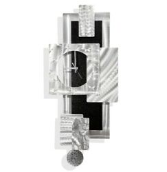 Large Modern Wall Clock w Pendulum, Funky Silver/Black Wall Art Sculpture