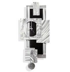 Large Modern Wall Clock w Pendulum, Funky Silver/Black Wall Art Sculpture