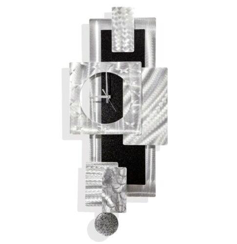 Modern Functional Wall Clock w Pendulum, Funky Silver/Black