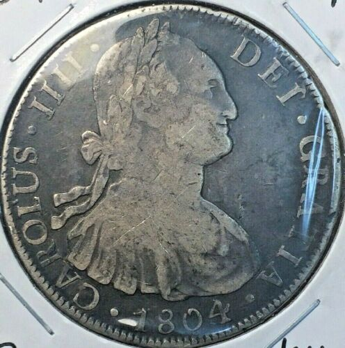 🔥 1804 🔥 Bolivia Large Silver Crown VF+ COIN 8 REALES KM#73 🔥 POTOSI Mint