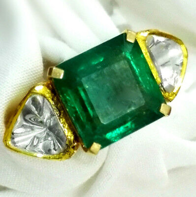 9.35 ct Natural Green Zambia Emerald Engagement 18k gold Diamond Ring colombia