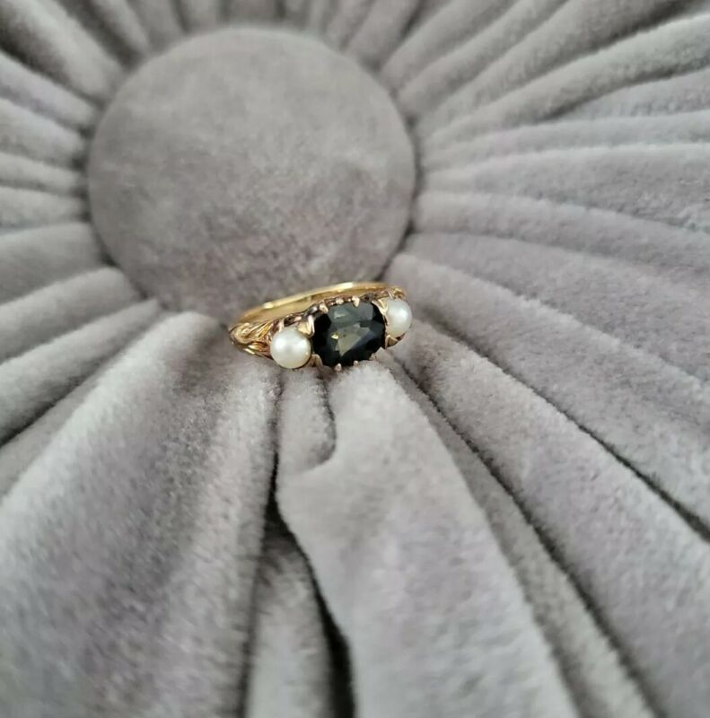 Antique Victorian 18k Yellow Gold Sapphire Natural Pearl Ornate Ring Size 4.75