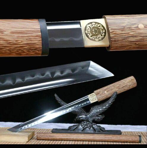 Sharp Japanese Sword Dagger Samurai Ninja Tanto T10Steel Clay Tempered Wakizashi