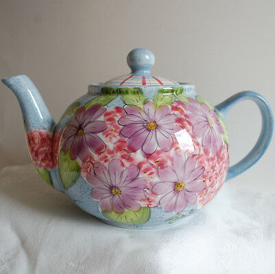 Gates WARE by Laurie Gates Ceramic Teapot w/ Purple Flowers Checkered Lid RARE